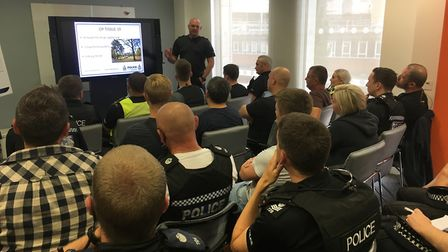 Officers are briefed ahead of a summer operation to tackle anti-social behaviour in Chapelfield. Pic