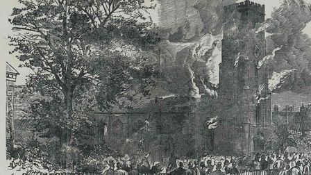 An etching of St Nicholas Church during the fire: Picture: Local Recall