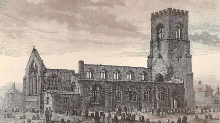 Wells church destroyed by fire, exterior engraving. Picture: Submitted