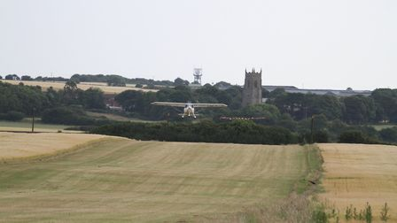 The Ikarus C42b in the air at Northrepps Aerodrome. Picture: ANDY NEWMAN