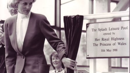 Princess Diana unveiling a plaque at the opening of Splash swimming pool in Sheringham on 11 May, 19