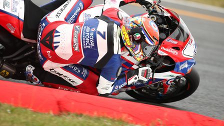 RAF Regular and Reserves rider Ryan Vickers in action at Snetterton Picture: J Wright