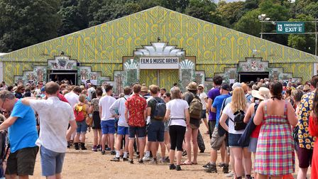The queue to see Charlie Brooker at Latitude 2019. Picture: Jamie Honeywood