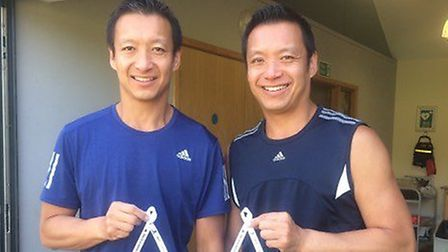 Jack (right) and Dick Cheung (left) competed in Run Norwich wearing ribbons in honour of Sze-Ming Ch