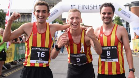 The winner of Run Norwich, Logan Smith, centre, with Ben Spratling, left, second, and Piers Arnold,