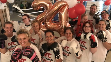 Sharon Plummer (front left) organised a 24-hour boxathon at Redwell Brewery near Trowse to give a kn