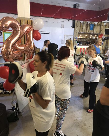 Punching the night away. Volunteers undertook a 24hr boxathon event at Redwell Brewery near Trowse t