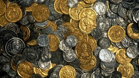 Coins from the Hoxne hoard - the richest find of treasure from Roman Britain Picture: British Museu