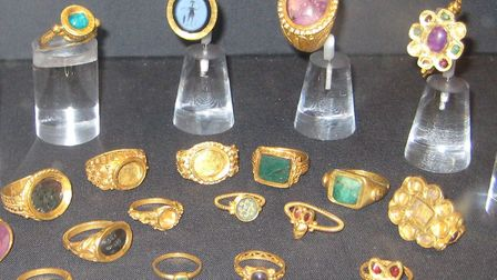Rings found in the Thetford hoard, displayed at the British Museum Picture: Geni