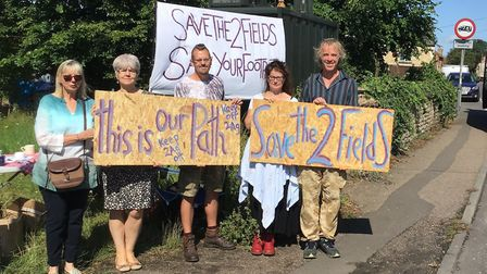 Protests against planning applications for 100 houses in Stoke Ferry. Picture: Councillor Tom Ryves.