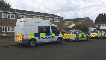 Police remain at a cordon on Normanshurst Close, Lowestoft, on Wednesday, July 31. PHOTO: Reece Hans