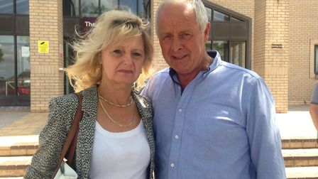 Sharon Tidnam with husband Russell outside Great Yarmouth Magistrates Court. Photo: Archant