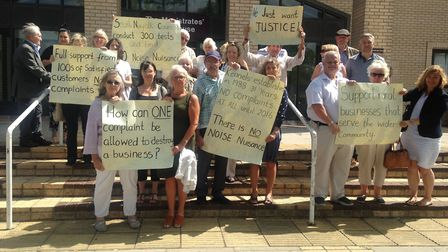 Supporters of Topcroft kennels owner Sharon Tidnam outside Yarmouth Magistrates Court on Tuesday Jul