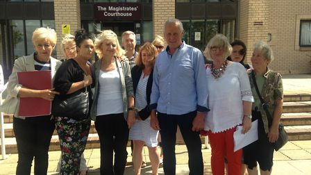 Sharon Tidnam with supporters outside Great Yarmouth Magistrates Court. Photo: Archant