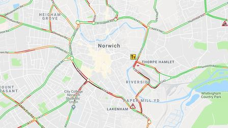 There are reports of traffic jams in Norwich this evening. Picture: Google Maps