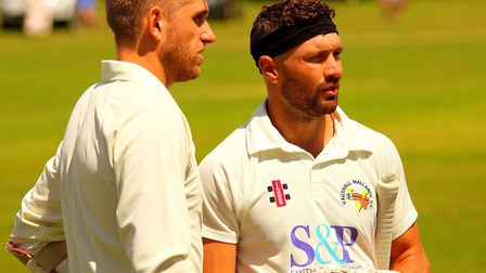 Olly Stone, left, with Nicholas Smit during a game between Mallards and Swardeston last year Picture