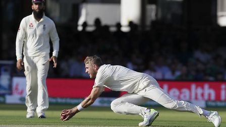 Olly Stone makes a catch during the first day of the test match between England and Ireland at Lord'