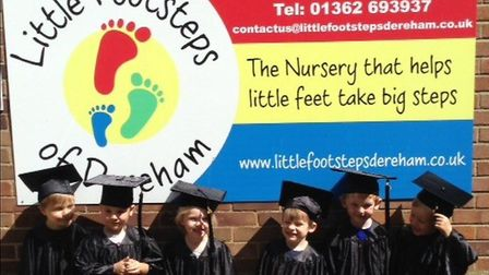 Children at Little Footsteps in Dereham at their graduation ceremony. Picture: Little Footsteps