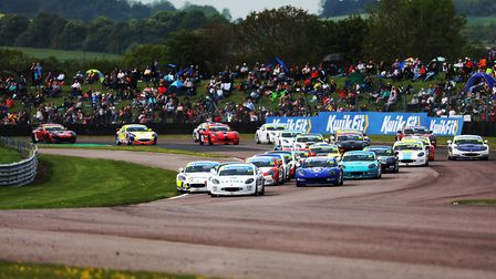 James Hedley leading the grid of Ginetta Junior races, which he has done for most of the season with