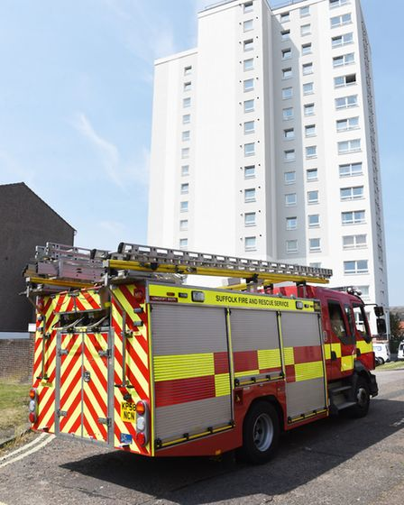 Suffolk Fire and Rescue Service reassure and provide safety advice to residents of St Peters Court t