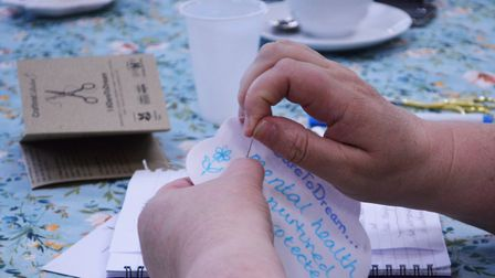 A volunteer sewing a dream cloud at one of Sarahs craftivist training sessions Picture: The Forum