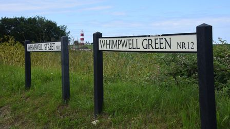 The road signs for Whimpwell Street and Whimpwell Green at Happisburgh. Picture: DENISE BRADLEY