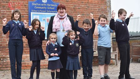 Shelton with Hardwick Community Primary School headteacher Laura Jestico with pupils in 2017. The sc