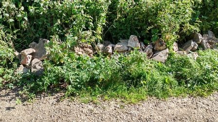 Patio rubble dumped in the Dereham Rugby Club car park. Picture: Breckland Council