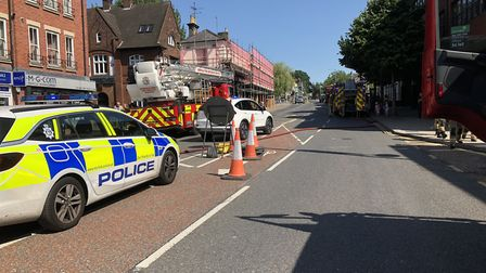 Emergency services on the scene of an incident on Prince of Wales Road, Norwich. Picture: Norfolk Po