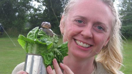 Maria Welby and her snail Sammy were crowned champions. Picture: Mark Scase