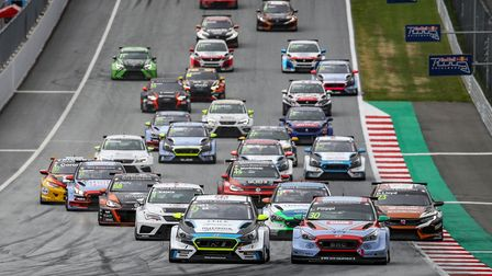 Josh Files celebrating his race one victory at the Red Bull Ring, Austria with his new Hyundai i30 N