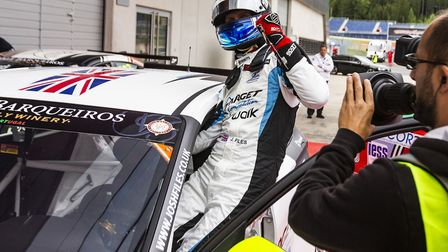 Josh Files celebrating his race one victory at the Red Bull Ring, Austria with his brand new Hyundai