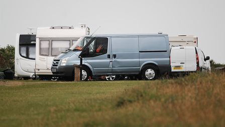 Travellers have pitched up on the cliff tops at Hunstanton near the lighthouse Picture: Chris Bisho
