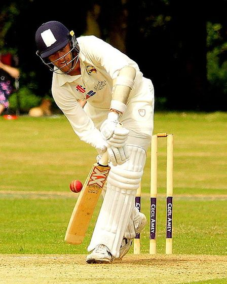 Olly Stone, in action with the bat during a game between Mallards and Swardeston last year Picture: