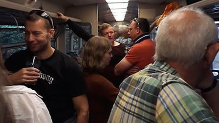 Passengers on a crowded Greater Anglia train from Sheringham to Norwich. Picture: Maz Brooks