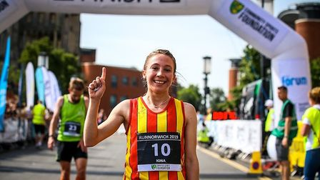Iona Lake celebrates her win at Run Norwich 2019. Picture: Epic Action Imagery