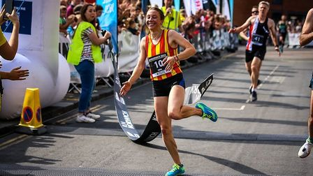 Iona Lake celebrates winning Run Norwich 2019. Picture: Epic Action Imagery