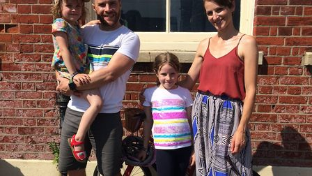 Kelvin and Hannah Colbourn with children Nell and Mollie, who is a pupil at Avnue Junior School in N