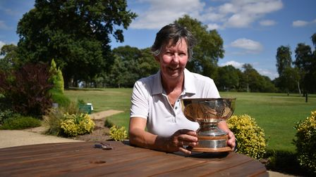 NLCGA Division Four meeting winner Janis Riches from Wensum Valley with her trophy Picture: CHRISSIE