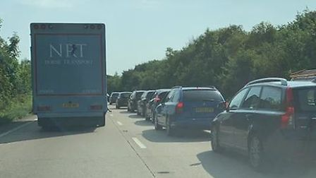 There are delays and heavy traffic on the A47. Photo: @ThickthornRound