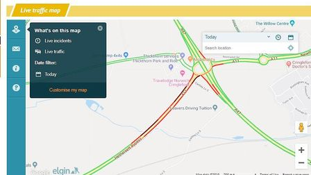 There are delays and heavy traffic on the A11 near Thickthorn. Photo: Archant