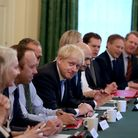 Prime Minister Boris Johnson holds his first Cabinet meeting at Downing Street in London on Thursday