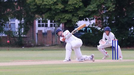 Freddie Ruffell on the attack during Swardeston's 46 run win at Finchley in the last 16 of the Royal