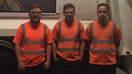 """A group of binmen have been praised for their """"huge, amazing act of bravery"""". Pictured is driver Ash"""