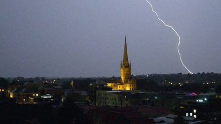 Lightning over Norwich Cathedral at 10.30pm. Photo: James McConnell