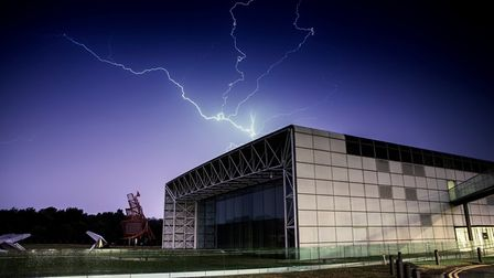 Lightning over the Sainsbury Centre at the University of East Anglia during a thunderstorm on Thursd