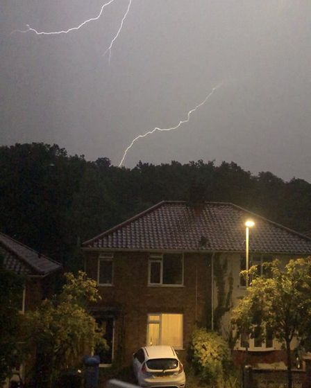 Lightning in the storm yesterday. Photo: Amy Kibby