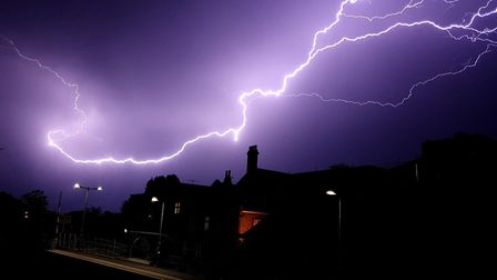 Lightning over Attleborough train station. Picture Liam Ayers.