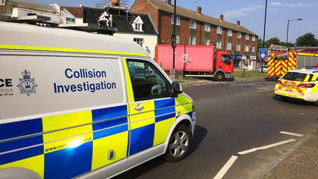 Police collision investigators at the scene of the postal lorry accident in Diss in which Maureen Se
