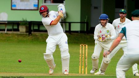 Stephen Gray puts bat to ball during yet another important knock for Swardeston Picture: TIM FERLEY